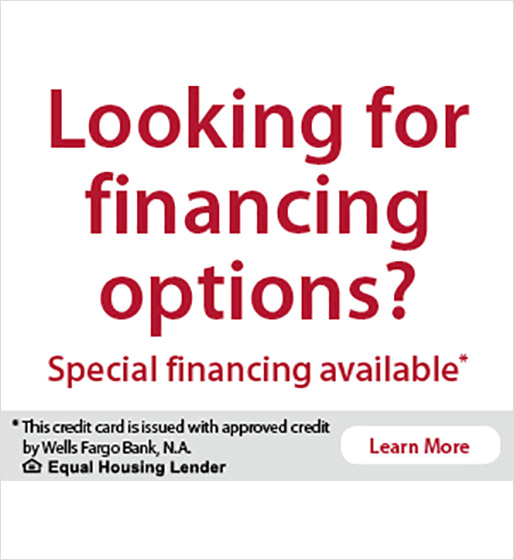 Image text: Looking for financing options? Special financing availabe