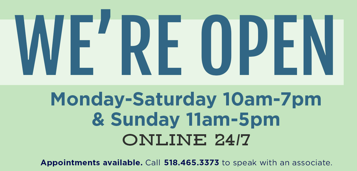 we're open mon-sat 10-7 sun 11-5 & online